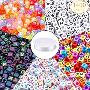 1400pcs 5 Color Acrylic Alphabet Cube Beads Letter Beads with 1 Roll 50M Crystal String Cord for Jewelry Making(6mm)