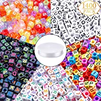 1400pcs 5 Color Acrylic Alphabet A-Z Cube Beads Letter Beads with 1 Roll 50M Elastic Crystal String Cord for Jewelry…