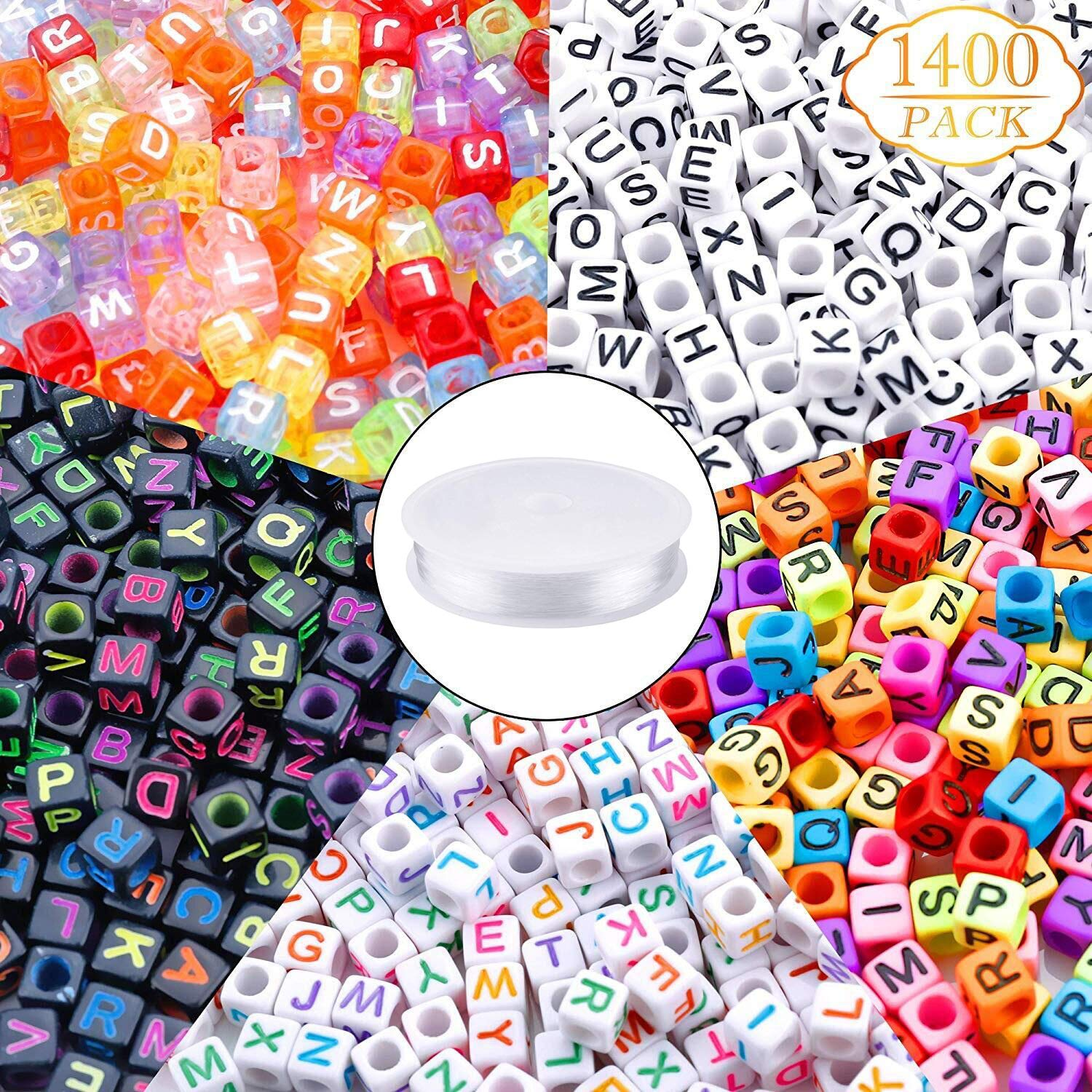 1400pcs 5 Color Acrylic Alphabet Cube Beads Letter Beads with 1 Roll 50M Crystal String Cord for Jewelry Making(6mm) by Augshy