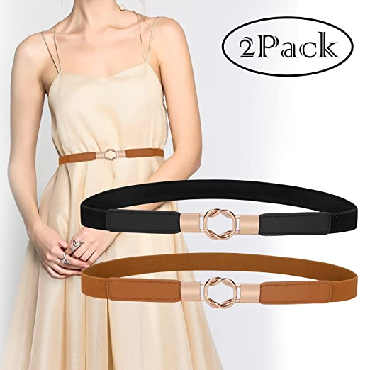40f0eafb1e Ladies Skinny Elastics Dress Belt Elegant Stretch Waistband Belt for Women
