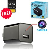 IMPROVED Hidden Camera USB Wall Charger - 32GB Mini Nanny Spy Cam HD 1080P with Motion