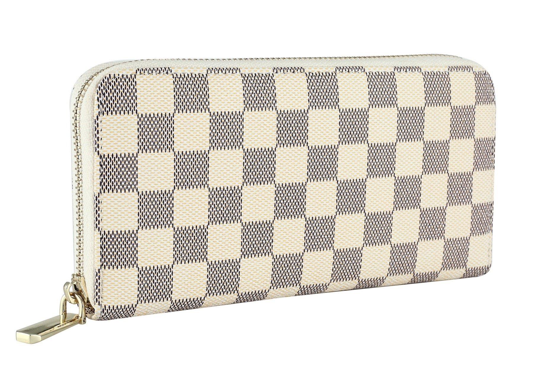 Daisy Rose Women's Wallet on Sale PU Vegan Leather Clutch Handbag RFID Zipper Organizer Card Holder (Cream)