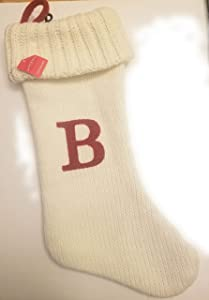 "Wondershop Target Christmas Knit Winter White Stocking Monogram Letter B Measures 19"""