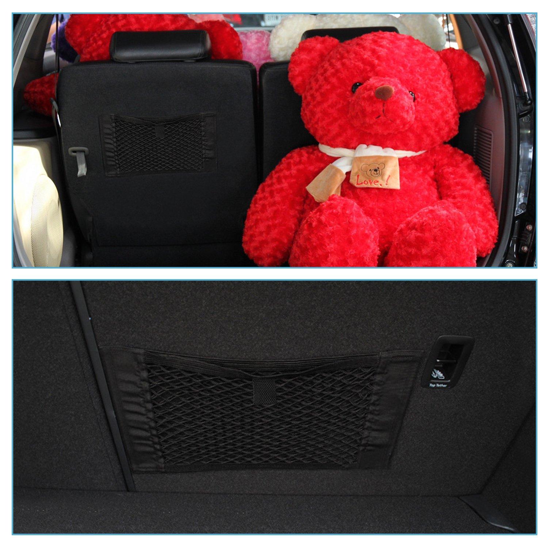 Qiilu Universal Car Zur/ück Kofferraum Sitz Elastische String Gep/äcknetz Mesh Aufbewahrungstasche Organizer