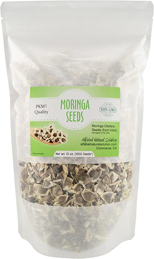Moringa Seeds 120 Qty in a resealable pouch.