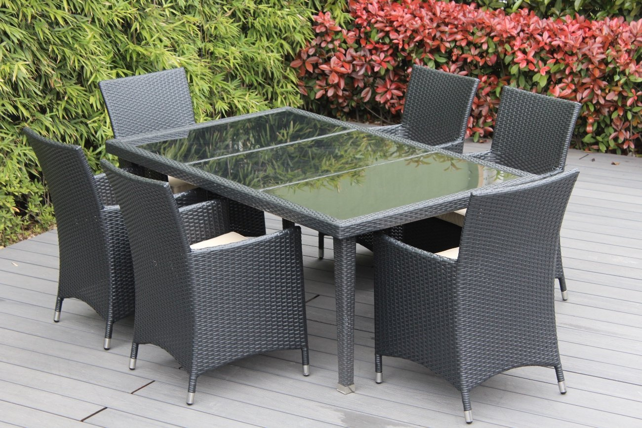 Genuine Ohana Outdoor Patio Wicker Furniture 7pc All Weather Dining Set with Free Patio Cover