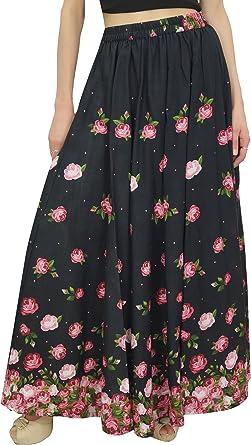 Bimba Falda Larga de Cintura Elastica para Mujer Faldas de Algodon Estampadas Florales: Amazon.es: Ropa y accesorios