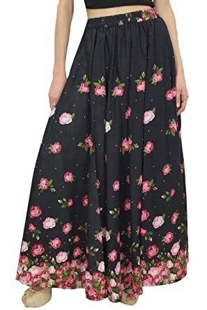 e274fb0cac Bimba Women's Elastic Waist Maxi Skirt Black Floral Printed Cotton Skirts-S