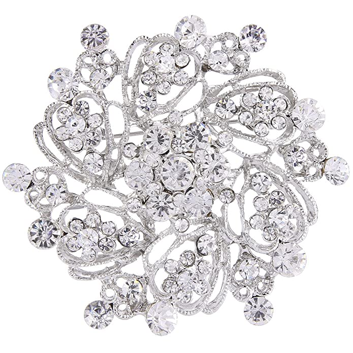 1960s Jewelry Styles and Trends to Wear EVER FAITH Womens Austrian Crystal Elegant Flower Bridal Corsage Brooch Pin Clear Silver-Tone $9.99 AT vintagedancer.com