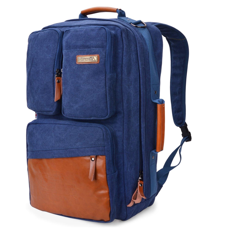 Witzman Men Retro Canvas Backpack Travel Rucksack Casual Duffel Bag 6617 (23 Inch, Blue)