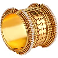 Efulgenz Fashion Jewelry Indian Bollywood Antique Faux Pearl Coin Style Bracelet Bangle (1 Piece) for Women…