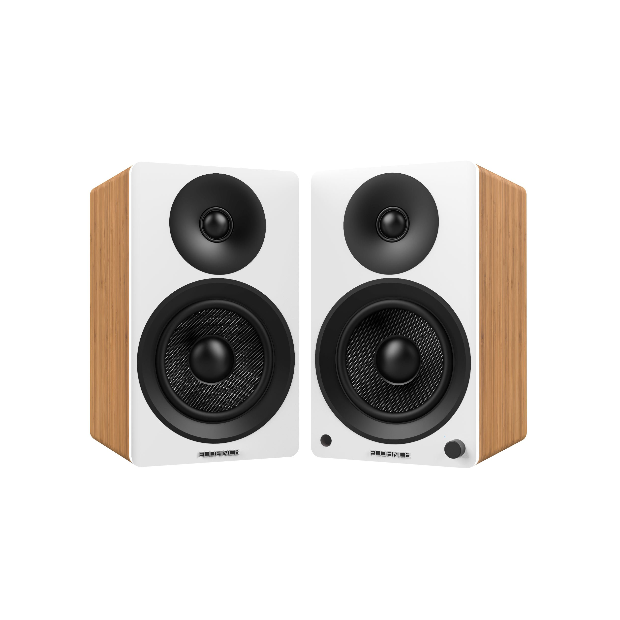Fluance Ai40W Powered Two-Way 5'' 2.0 Bookshelf Speakers with 70W Class D Amplifier for Turntable, PC, HDTV & Bluetooth aptX Wireless Music Streaming (Lucky Bamboo) by Fluance