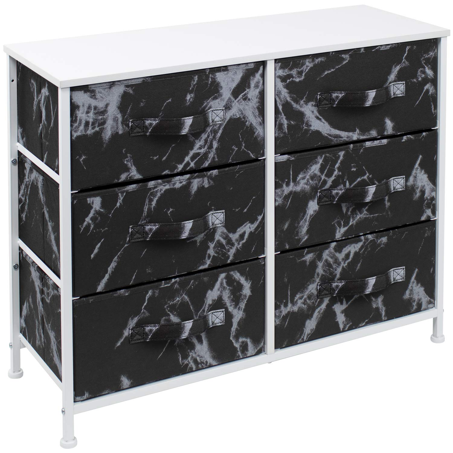 Sorbus Dresser with 6 Drawers - Furniture Storage Chest Tower Unit for Bedroom, Hallway, Closet, Office Organization - Steel Frame, Wood Top, Easy Pull Fabric Bins (Marble Black – White Frame)