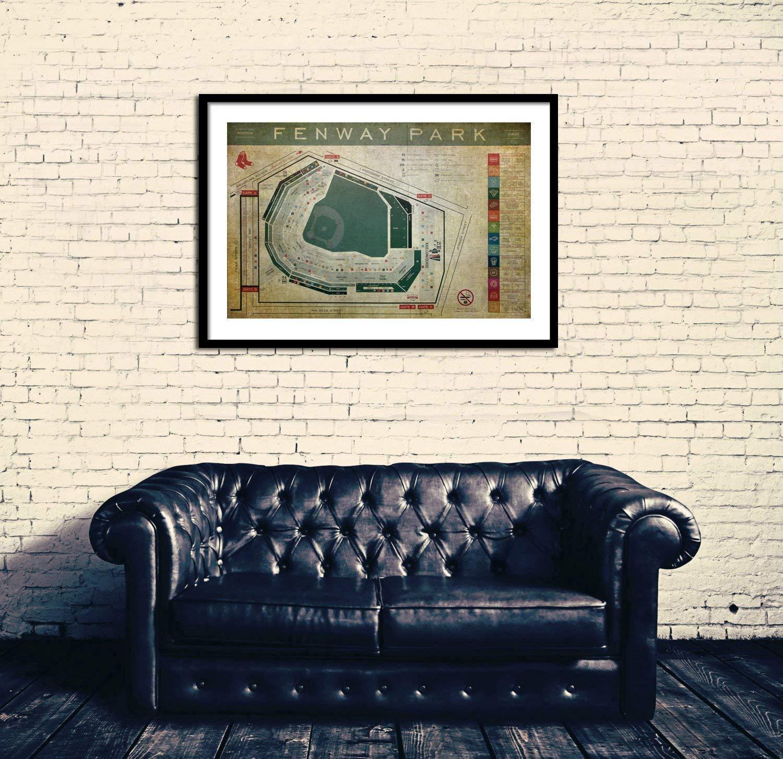 Amazon Com Fenway Park Blueprint Seating Chart Vintage Fenway Wall Art Handmade