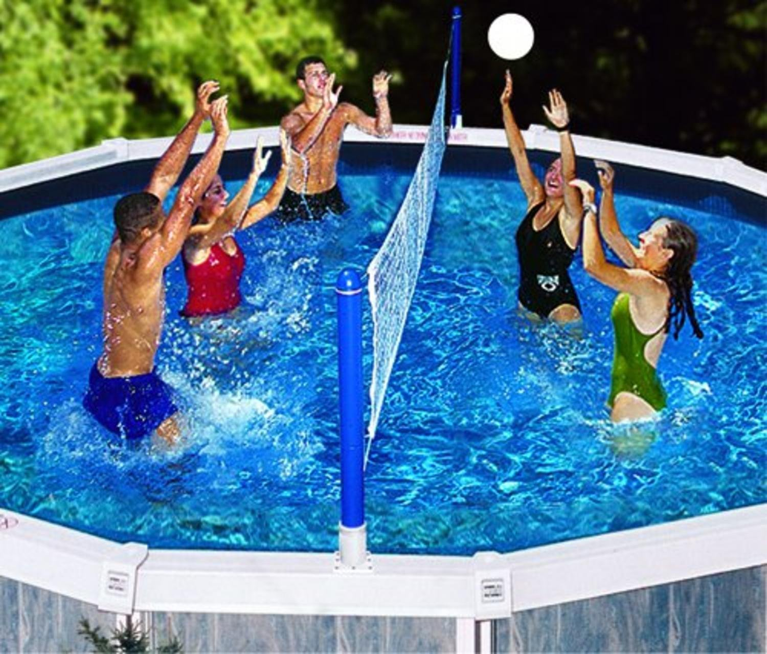 Water Sports Cross Volleyball Swimming Pool Game - Screw-in Net Supports Swim Central