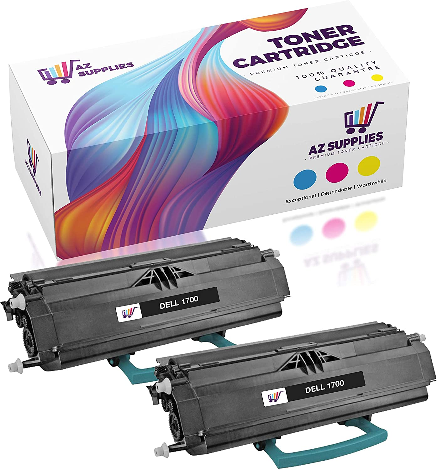 AZ Compatible Toner Cartridge Replacement for DELL 1700 / 1700N (1710 / 1700N) - 2 Pack Black