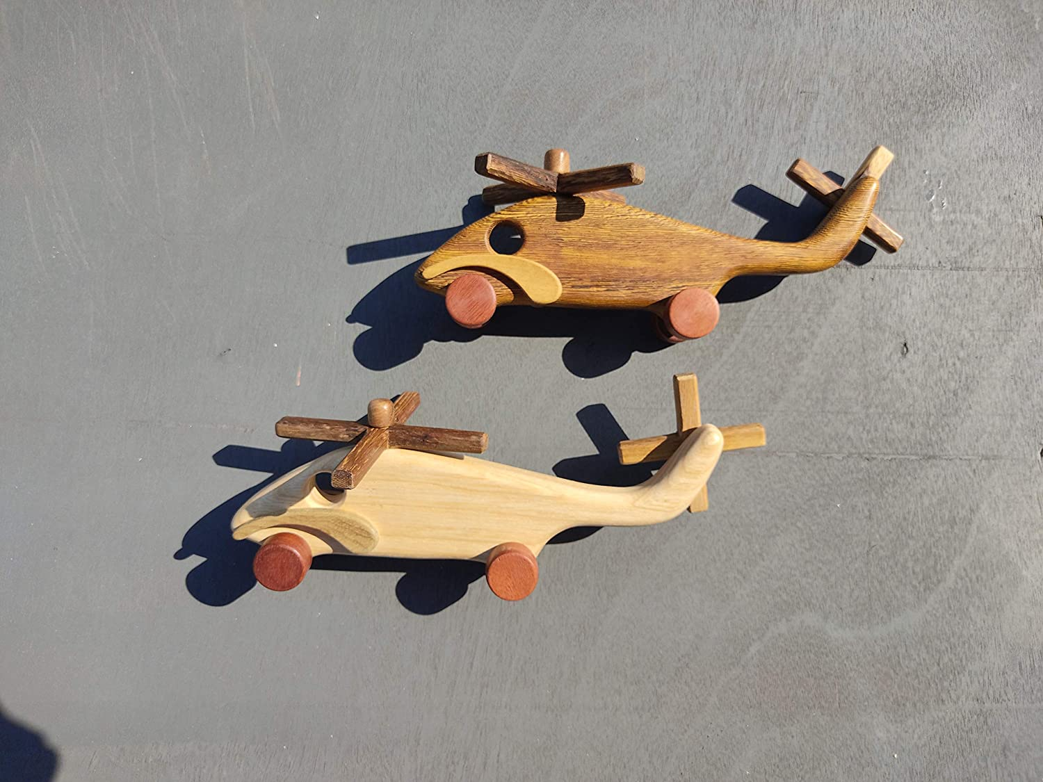 Safe Handmade Kids Classic Activity Baby Stork Wooden Toy Helicopter A Ages 3-Year-Old and up Smooth Grinding Cute Wings Four Wooden Wheels with Tung Oil Glossy Finish Round Edges