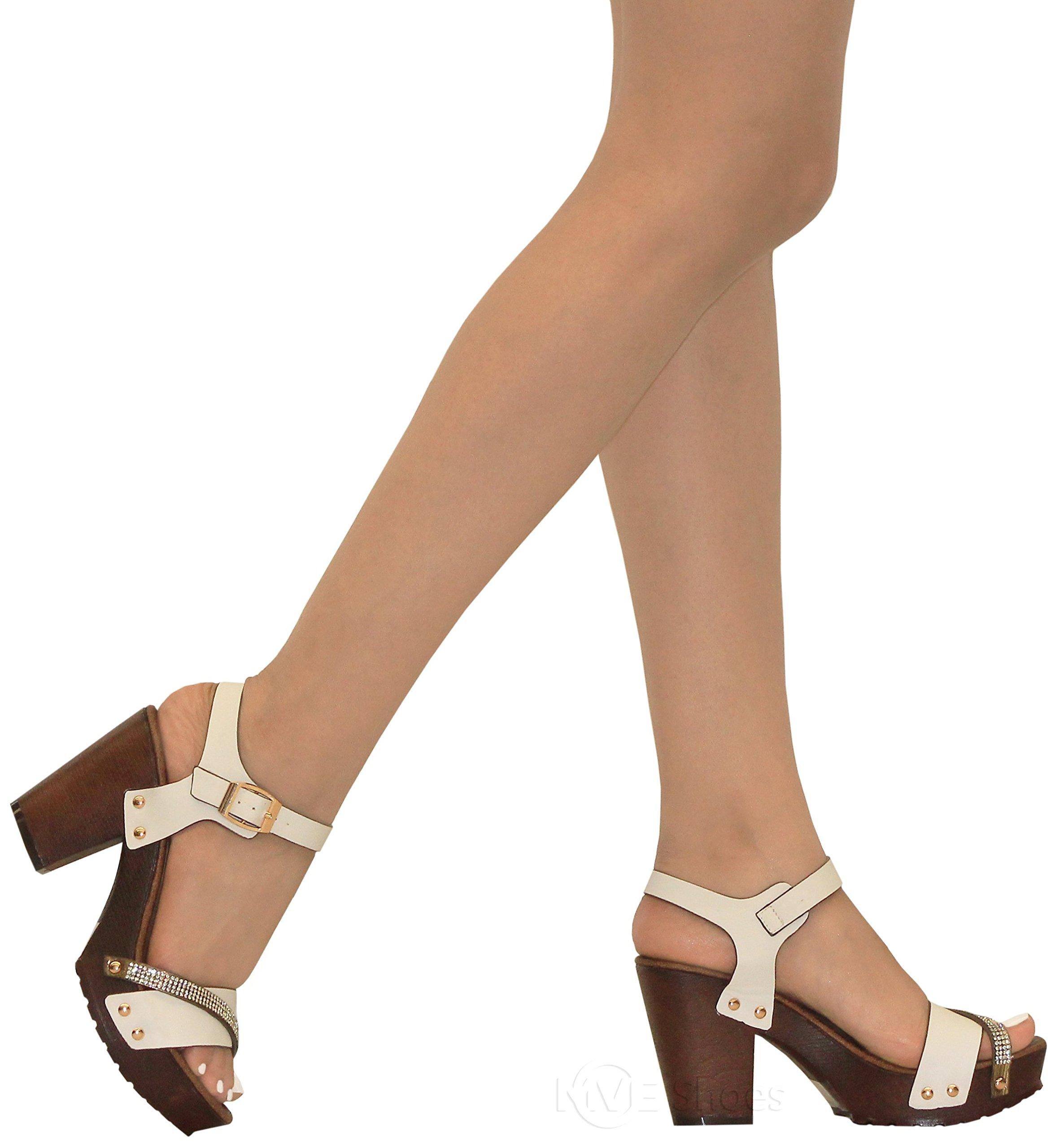 MVE Shoes Women's Ankle Strap Faux Wood Platform Chunky Heel Sandal,vint-02 White pu 10 by MVE Shoes (Image #5)