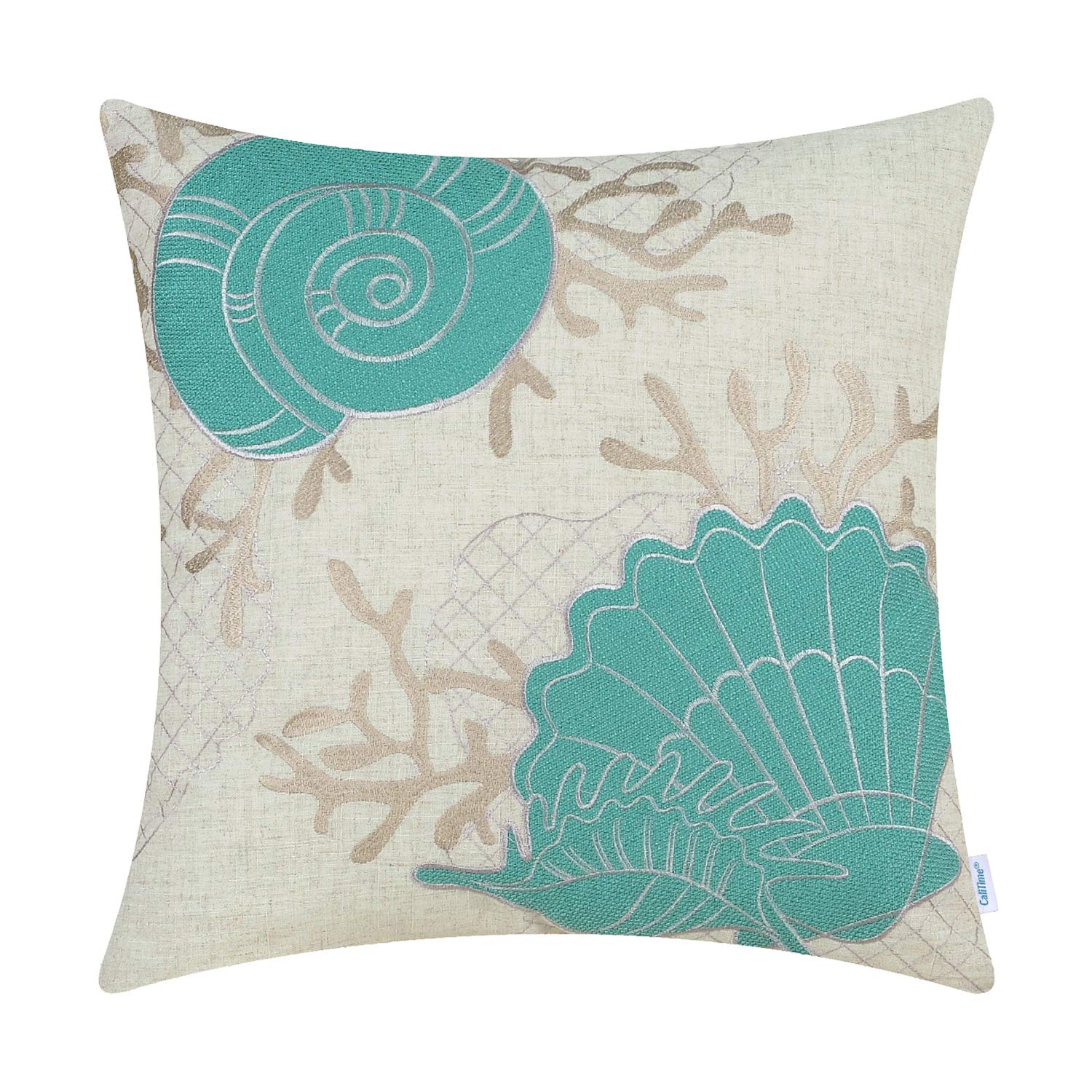 CaliTime High Class Throw Pillow Cover Case for Couch Sofa Home Decoration Sea Conch Shell Coral Applique Embroidered 18 X 18 Inches Teal