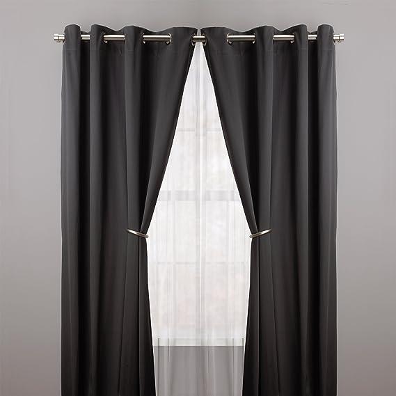Umbra Halo - Aros para sujetar cortinas (2 unidades, acabado mate), color negro: Amazon.es: Hogar
