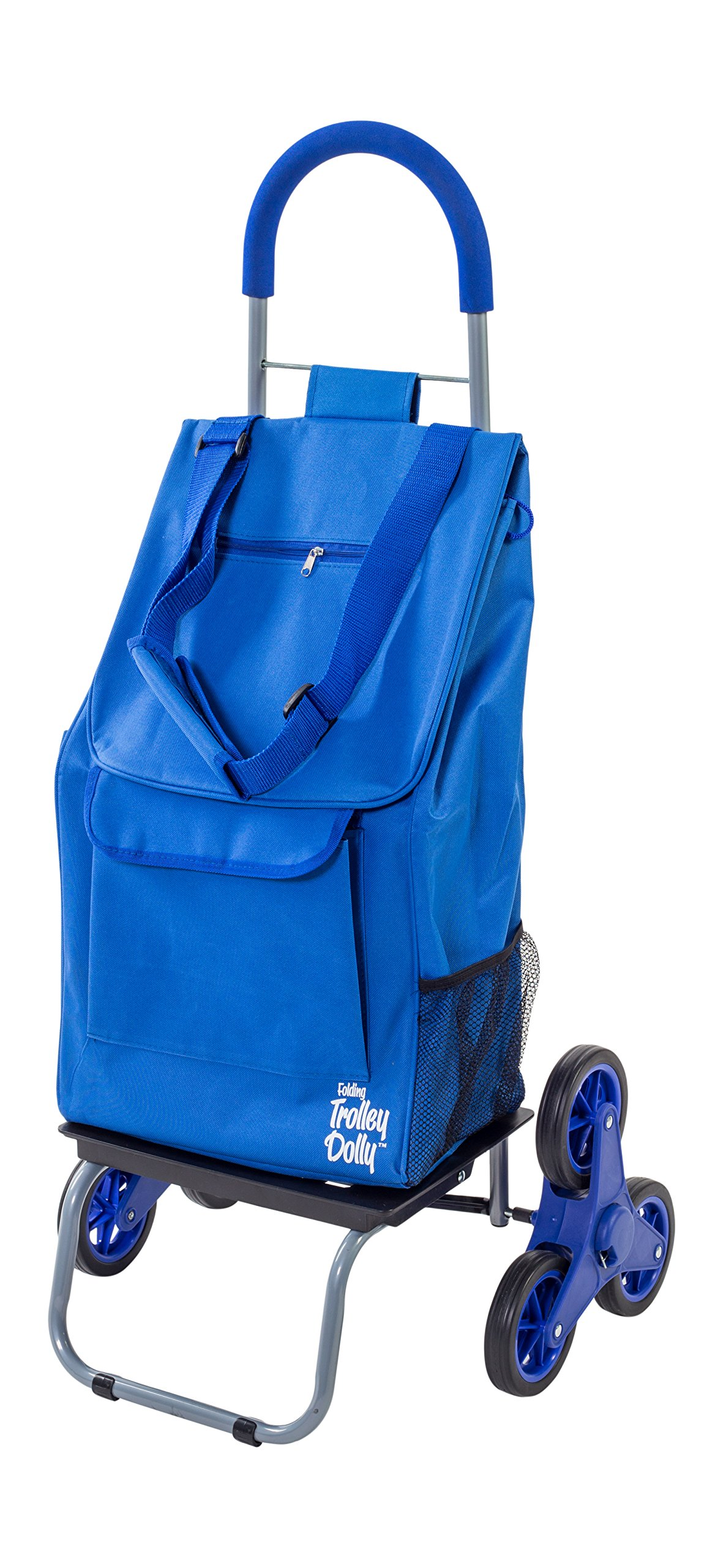 dbest products Stair Climber Trolley Dolly, Blue Shopping Grocery Foldable Cart Condo Apartment by dbest products (Image #1)