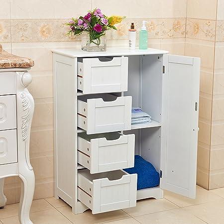 Vivo White Wooden 4 Drawer Bathroom Storage Cupboard Cabinet Free ...