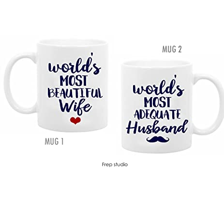 2 mugs for couples valentines day coffee mugs worlds most adequate husband most beautiful wife wedding - Valentines Day Mugs