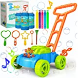 JUMELLA Lawn Mower Bubble Machine for Kids - Automatic Bubble Mower with Music, Baby Activity Walker for Outdoor, Push Toys f