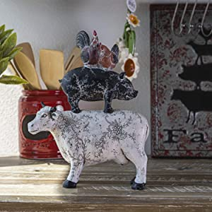 SUMMIT COLLECTION Rustic Barnyard Decor Stacked Farm Animals Design Cow Pig Chickens Figurines 14.5 inches Tall Kitchen Dining Room Farmhouse Decor