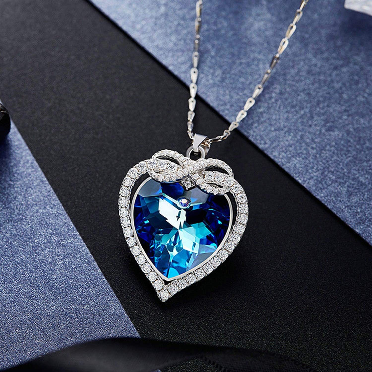 Epinki Shiny Women Necklace Heart Shape Pendant Chain with Blue Cubic Zirconia-A1257
