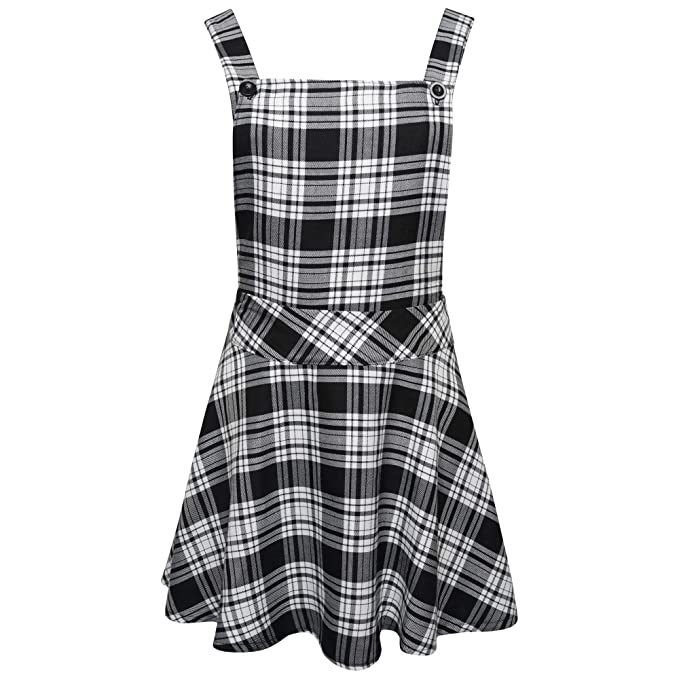 0a982f106e Ladies Womens Tartan Check Pinafore Dungarees Buttoned Mini Skirt Dress UK  Sizes 8 10 12 14  Amazon.co.uk  Clothing