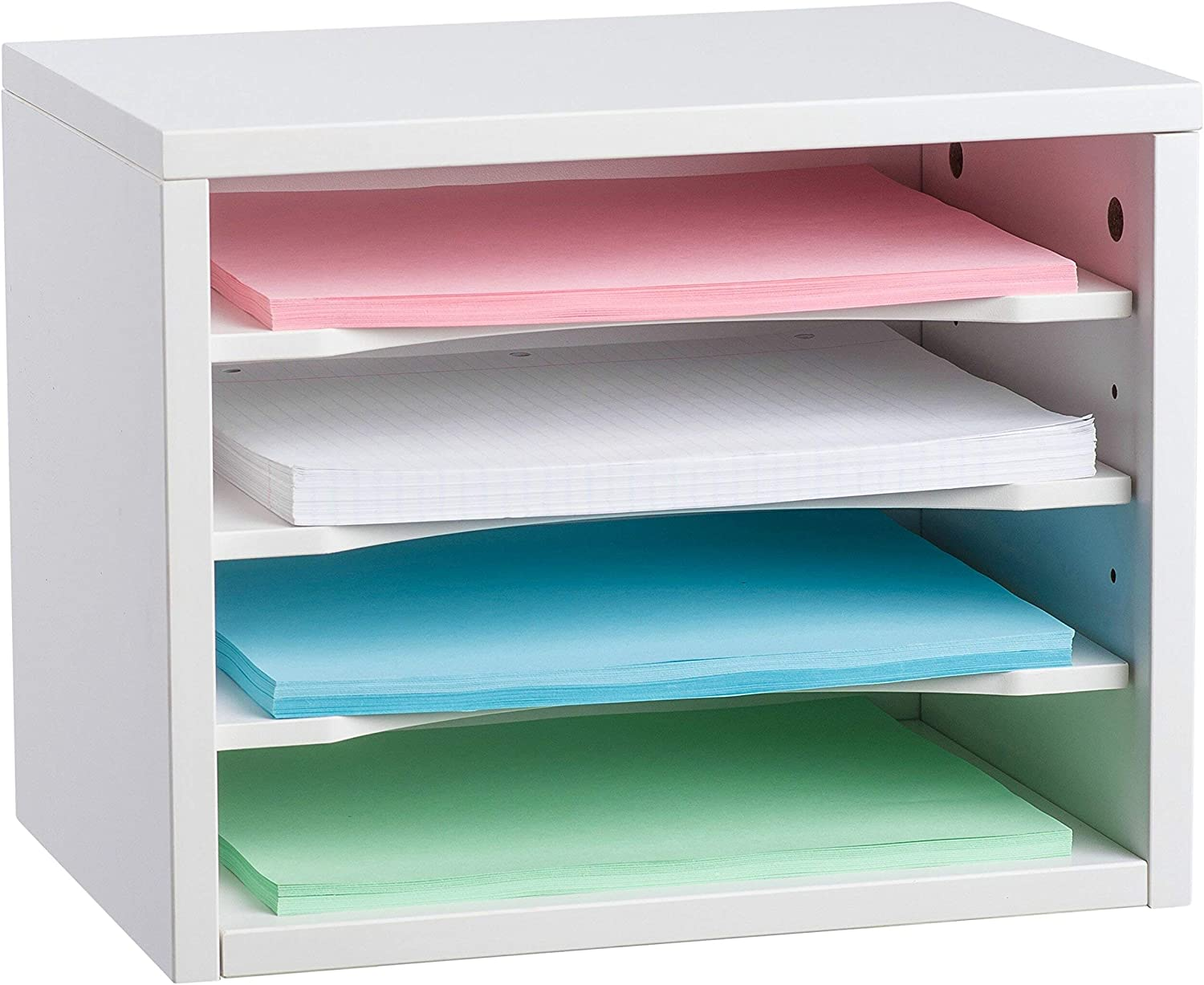 AdirOffice - White Wood Desk Paper Organizer - Construction Paper Holder - 4 Storage Literature File Holder for Office and Home
