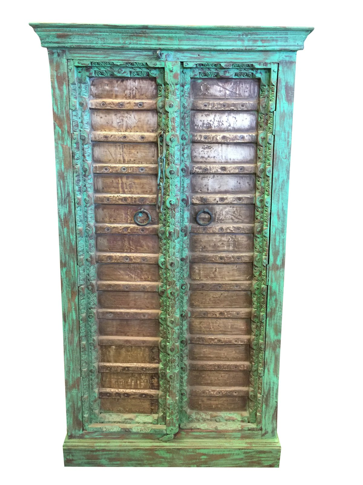 Mogulinterior Rustic Furniture Antique Grounding Armoire Brass Patina Green Storage Cabinet Eclectic