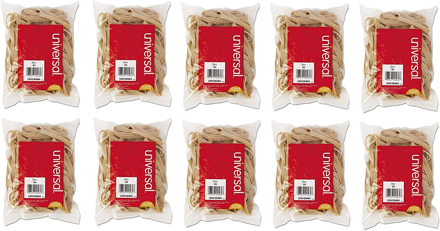 UNIVERSAL Office Products, Rubber Bands, Size 64, 3-1/2 x 1/4, 80 Bands per Pack,1/4 lb Pack (10)