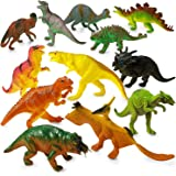 DINOSAUR TOYS Party Favors Figures - 12 Pack - 5.5 Inches - Safe Material, Assorted Realistic Large Dinosaur Figurines For Kids - For Birthday Party, Decoration, Gift, Prize, Toys For Boys & Girls, E