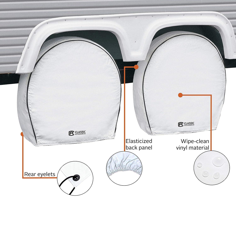 Snow White 8.75 Tire Width Wheels 27-30 Diameter Classic Accessories Overdrive Deluxe RV Wheel Cover