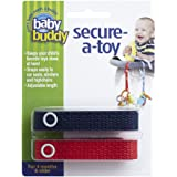 Baby Buddy Secure-A-Toy, Safety Strap Secures Toys, Teether, or Pacifiers to Strollers, Highchairs, Car Seats—Adjustable Length to Keep Toys Sanitary Clean Navy-Red 2 Count