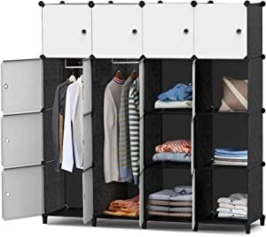 HOMIDEC Portable Closet Wardrobe with Clothes Hanging Rod, Closet Organizers and Storage Shelves Cabinet Armoire for Bedroom, (56'x18'x56', 16 Cube)