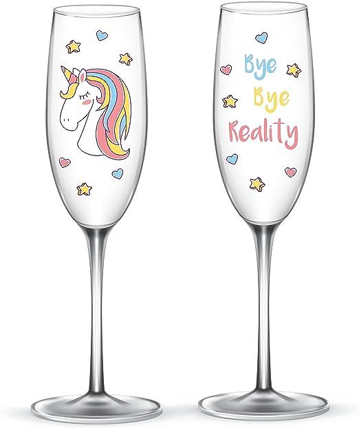 EinhornLiebe® Juego de copas de champán de unicornio de cristal Bye Bye Reality para champán o champán, 2 unidades en caja de regalo: Amazon.es: Hogar