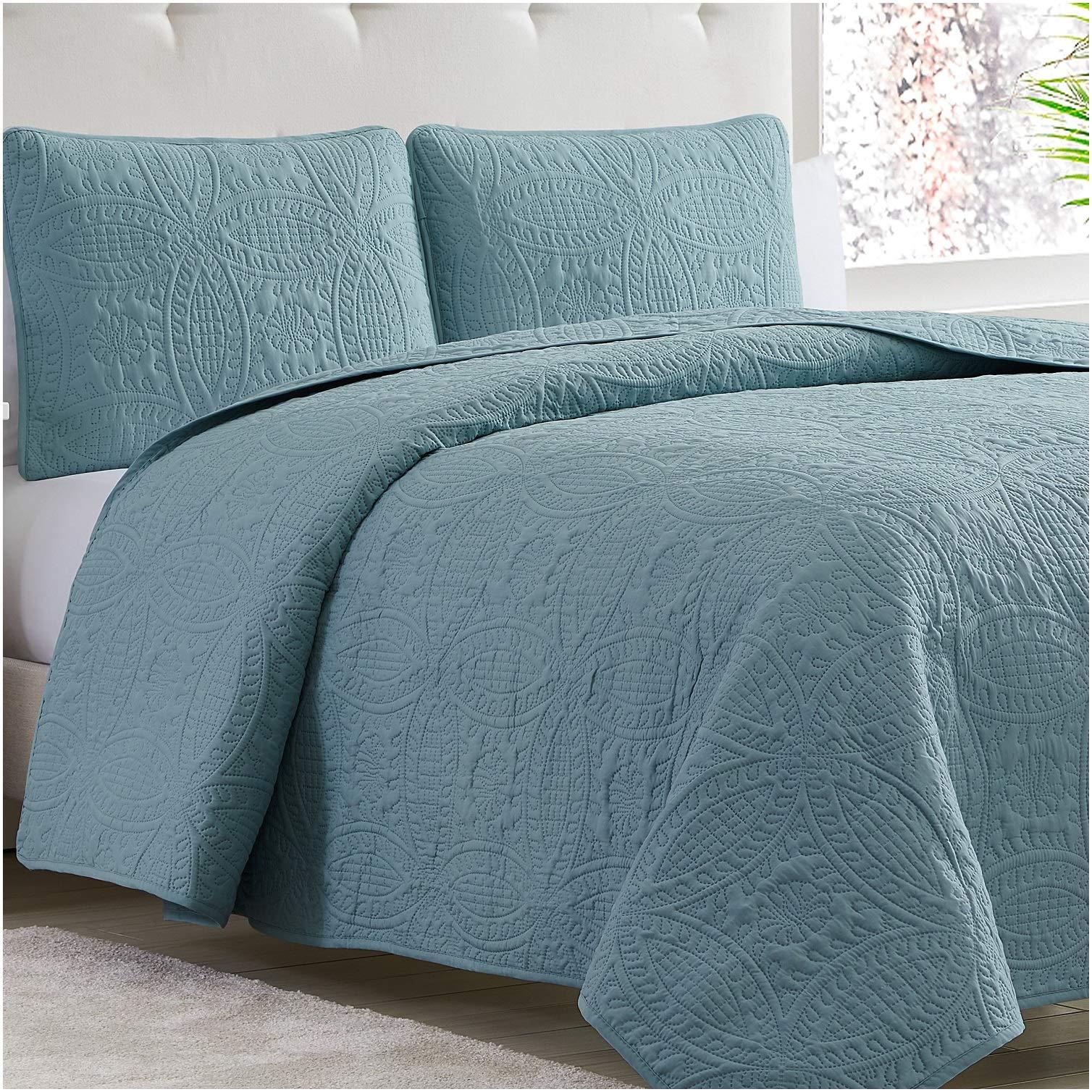 Mellanni Bedspread Coverlet Set Spa Blue Comforter