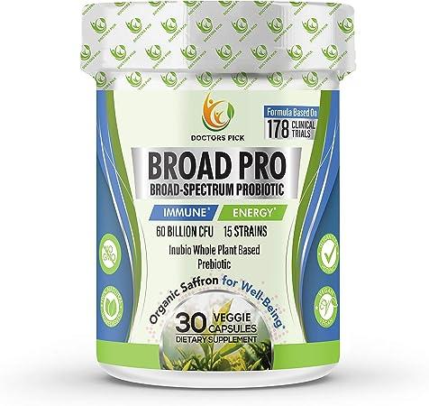 Amazon.com: Doctors Pick 60 Billion CFU Probiotics   Patent-Pending Organic  Prebiotics + Saffron & Inulin for Immune, Digestive Health, Energy & Mood,  for Men & Women; 30 Vegan caps   Soy &