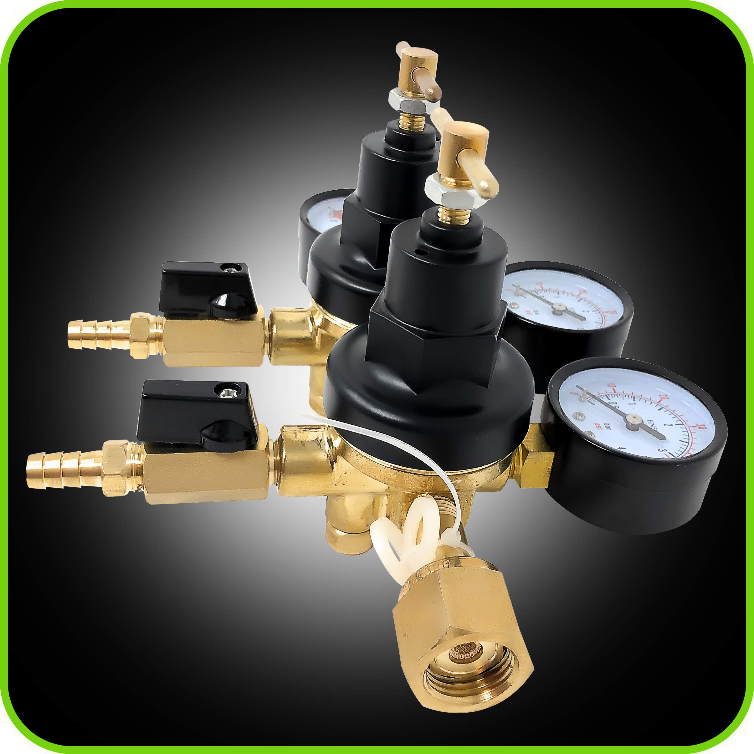 Co2 Beer Regulator Two Product Dual Pressure Kegerator Heavy Duty Features T-Style Adjusting Handle - 0 to 60 PSI-0 to 2000 Tank Pressure CGA-320 Inlet w/ 3/8'' O.D. Safety Discharge 50-55 PSI by Manatee (Image #8)