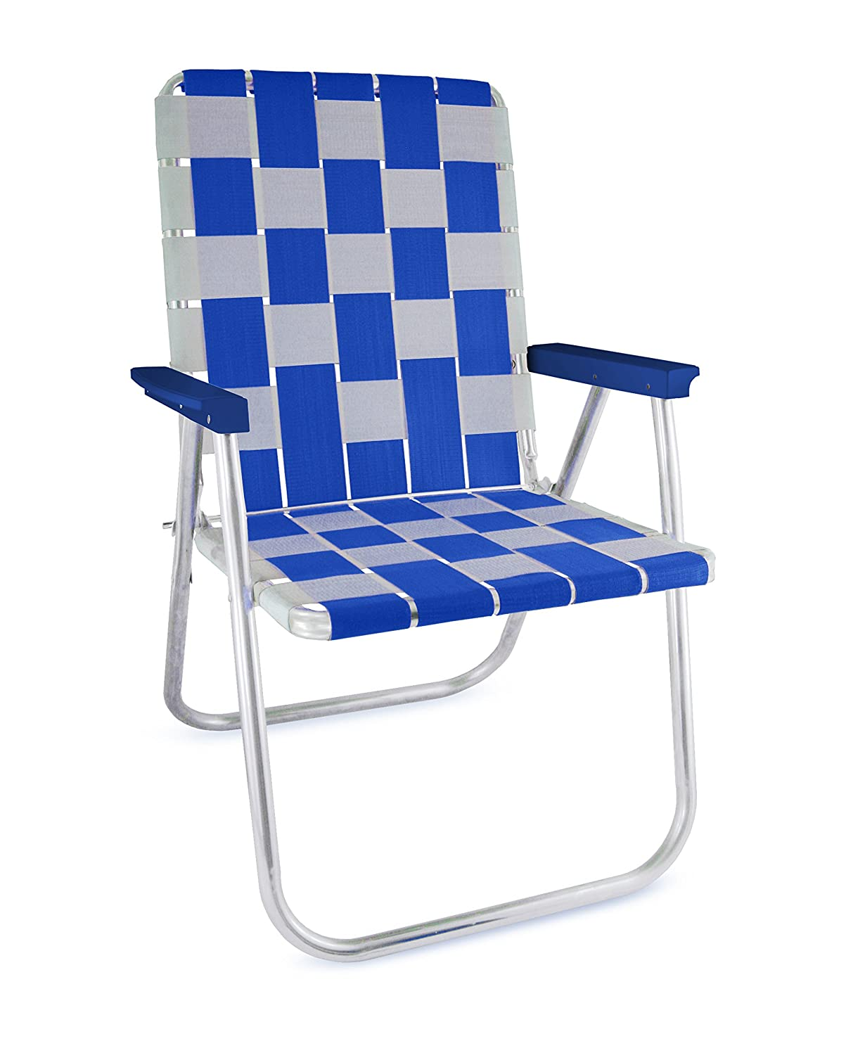 blueee  White Lawn Chair USA Aluminum Webbed Tailgating Chairs (Pink  White)