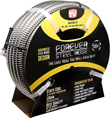 Tardigrade Steel Hose Lightweight High Pressure 10 304 Stainless Steel Garden Hose Durable and Easy to Use Kink-Free Metal Water Hoses Strong Heavy Duty