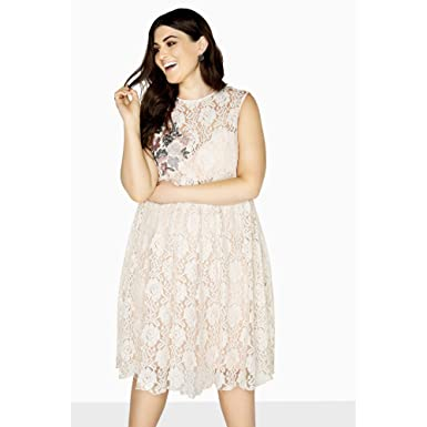 2d77d7f7400 Little Mistress Curvy Womens Ladies Sleeveless Lace Prom Dress  Amazon.ca   Clothing   Accessories