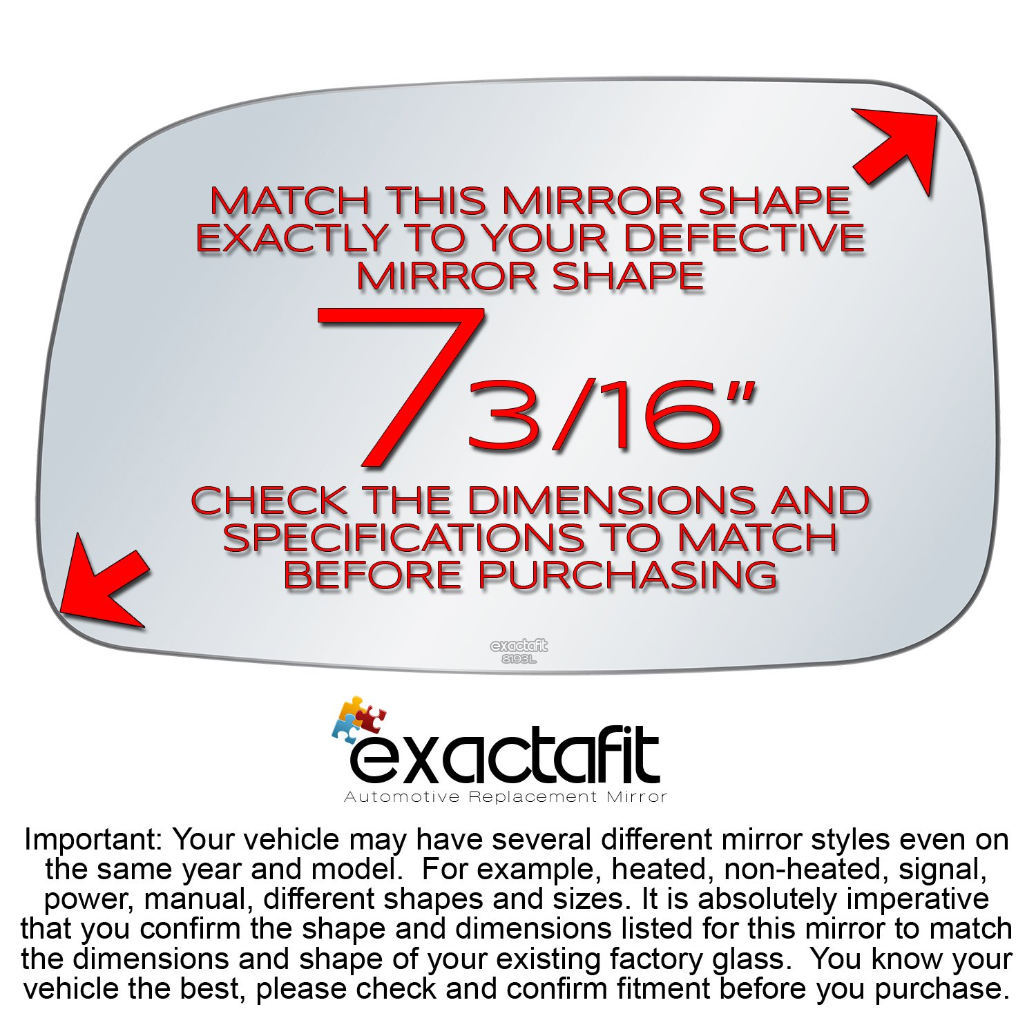 exactafit 8193L Replacement Driver Left Side Mirror Glass Flat Lens fits 2005-2010 Scion tC 2006 xA by Rugged TUFF