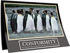 GREAT ART Conformity Poster - Original Barney Stinson Wallpaper- 23,3 x 33,1 in (59,4 x 84,1 cm) Penguin How I Met Your Mother Motivational Quotes Adaptation Mural Decoration - No. 3
