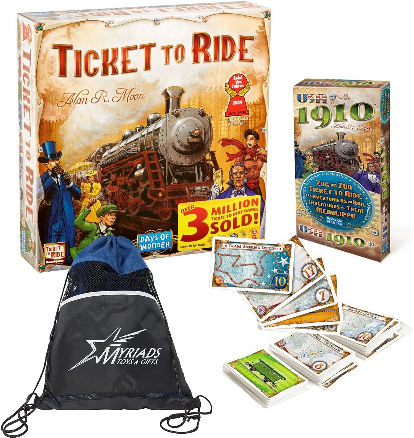 Days of Wonder Ticket to Ride Europe with Europa 1912 Expansion and Myriads Drawstring Bag