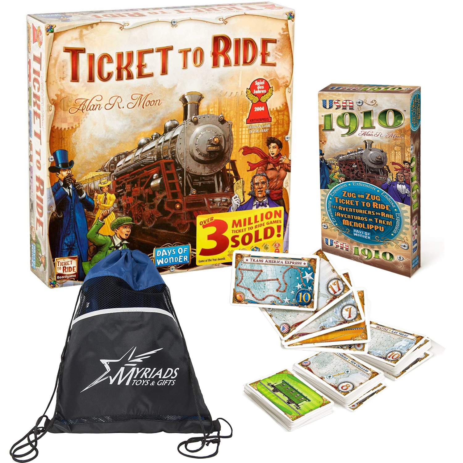 Days of Wonder Ticket To Ride with USA 1910 Expansion and Myriads Drawstring Bag