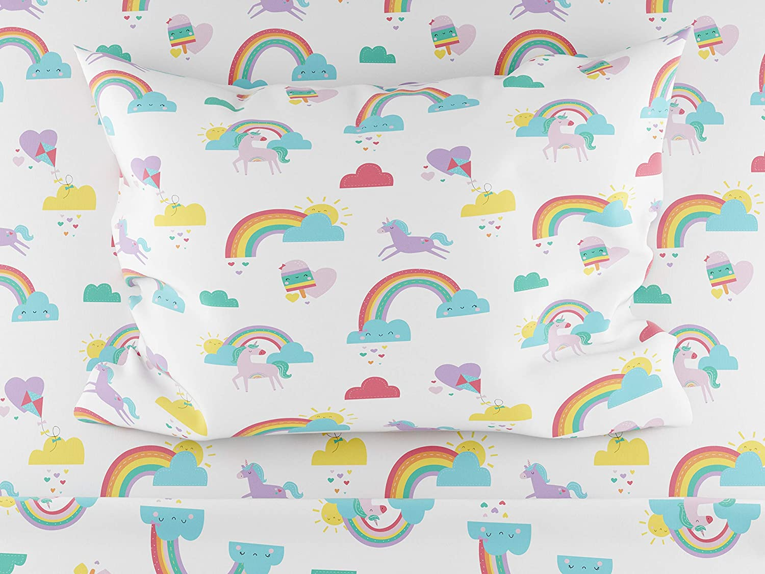 Where the Polka Dots Roam Rainbows and Unicorn Twin Size Sheets, 3 Piece Sheet Set for Girls, Ultra Soft Microfiber